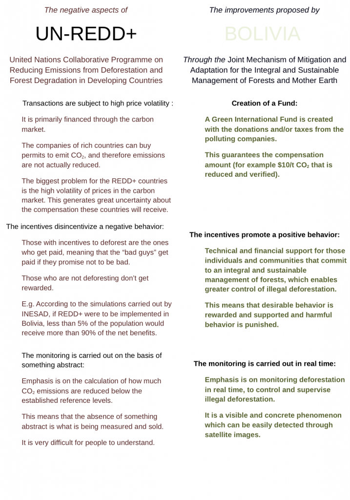 The negative aspects of REDD and the improvements proposed by Bolivia