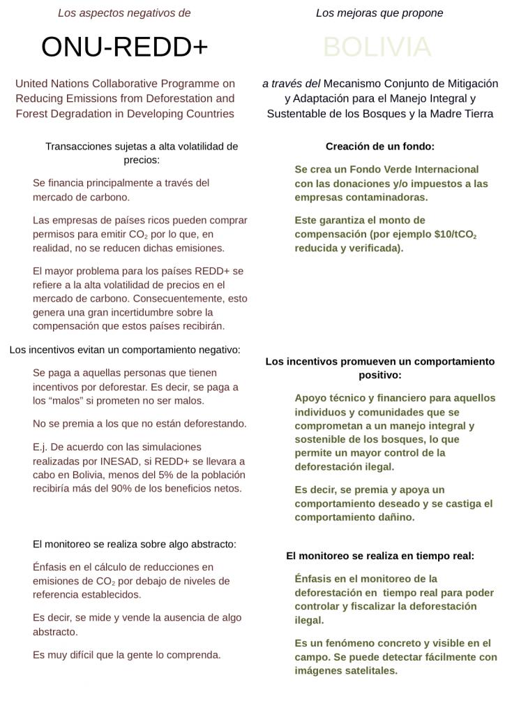 Los aspectos negativos de REDD y las mejoras que propone Bolivia (1)