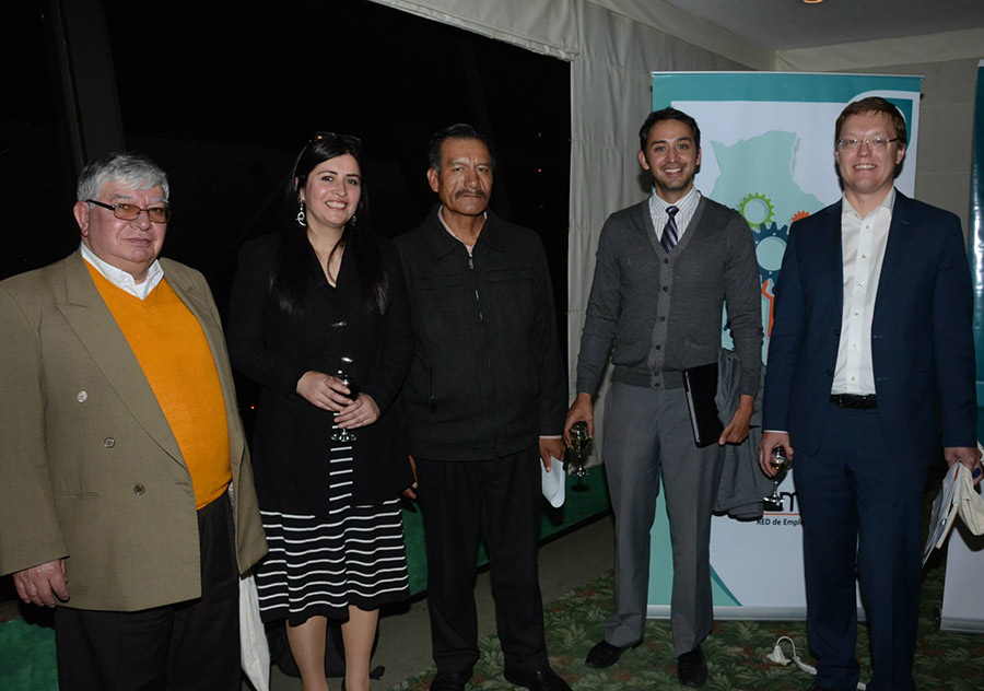 Beatriz together with the panelists: Ex-viceminister Rodolfo Erostegui; current Viceminister Benito Rodríguez; Ricardo Nogales from UPB; and Anders Stuhr from the Royal Danish Embassy in La Paz.