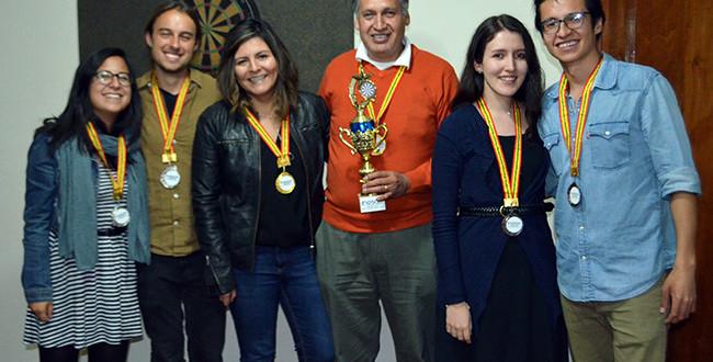 The winners of the 2018 Dream Team Dart Tournament at INESAD.