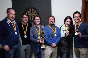 Winners of the 2019 Dream Team Dart Tournament at INESAD, July 2019.